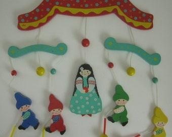 Vintage Sevi Baby Mobile 1950s 60s Italy Hand Painted Wood Nursery Childs Room Decor Bright Colors Italian Wooden Decoration
