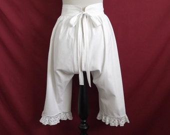 For 25% off use coupon 'SALE25' - 1880s 1890s Restored Antique Victorian Open Drawers Bloomers with Crochet Lace Trim Waist 22""