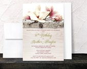Magnolia Birthday Invitations - Rustic Birch Light Wood Southern Floral - Adult Womens Birthday - Milestone - Printed Invitations