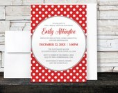 Bridal Shower Invitations - Gray and Red Polka Dot - Winter Red Polka Dot - Printed Invitations