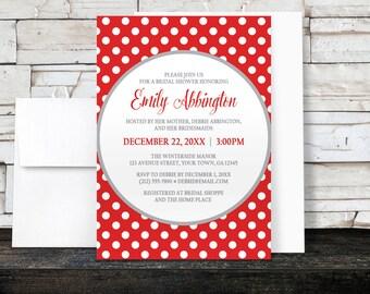 Bridal Shower Invitations - Gray and Red Polka Dot - Winter Red Polka Dot - Printed Invitations
