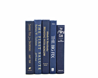 Blue Decorative Books, Navy Book Collection, Old BOoks, Vintage Book Stack, Wedding Decoration, Instant Library, Book Decor,  Old Book Set