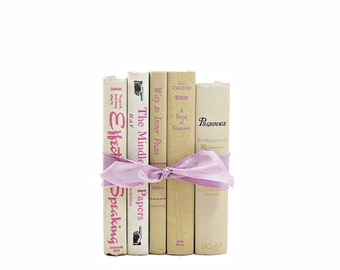 Pink & Beige BOok BUndle, Antique Decorative Books, Wedding Decoration, Ivory White Books, Old Book Decor, Vintage BOok Set, Book Collection
