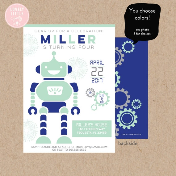 Robot Invitation, DIY Printable  or Printed Robot Invitation - Lovely Little Party