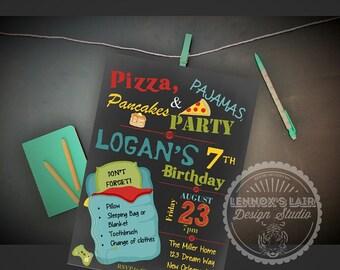 Boy Pizza Pajama & Pancake Party Slumber Sleepover Birthday Invitation Printable
