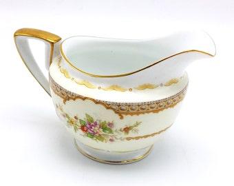 Noritake N221 Creamer - Vintage Teaware - Japanese China - Gold Scrolling, Floral Sprays and Verge Line - Noritake China - 1930 - 1940