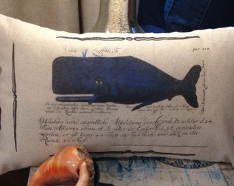Blue  Whale Pillow, Nautical decor, coastal decor, beach decor, bolster pillow 18x12