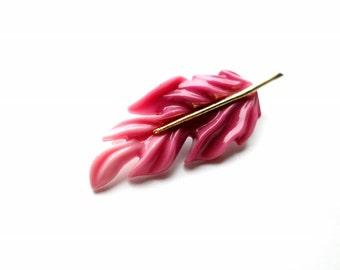 Vintage Cerise Pink Leaf Pin