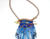 Starry Night, Fiber Art, Bib Necklace, Blue Necklace, Beaded Jewelry, Stars in the Sky, Copper Wire Wrapped Necklace