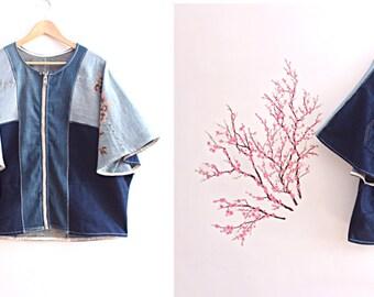 Upcycled Kimono Denim Colorblock Cardigan with Beading Bohemian Recycled Clothing Size Extra Large XL1x Plus Size