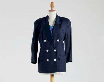Vintage CHRISTIAN DIOR Original Elegant Jacket in Beautiful Navy-Blue