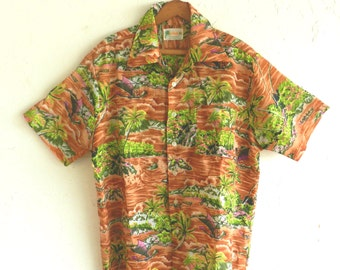 70's TROPICAL HAWAIIAN SHIRT - Tiki / Luau / Beach / Resort / Tourist / For Him / Size Large