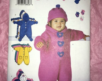 Uncut Unisex Infant BUTTERICK sewing pattern #5899 Sizes Newborn-Small-Medium - Winter Bunting, Hat, Mitts & Booties YMA47R