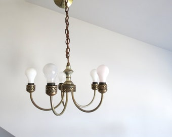 Vintage Rustic Chandelier Worn Metal 5 Arm Gold Cottage Style Dining Room
