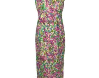 vintage 1960s tie dye dress / cotton / psychedelic paint splat / novelty print dress / women's vintage dress / size 14
