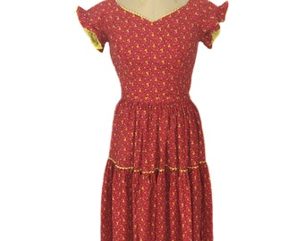 vintage 1950s ALEX COLMAN floral dress set / red / cotton / fitted blouse prairie skirt / women's vintage outfit / size medium