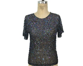 vintage sequin mesh t-shirt / black mesh / iridescent sequins / club kid / women's vintage top / size medium