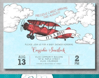 Vintage Airplane Baby Shower Invitation   Baby Boy Shower   Precious Cargo    Red   Birthday