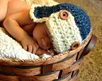 Crochet Baby Hat Aviator Baby Boy Baby Girl Photo Prop Infant Newborn Blue Infant hat.Coming home hat