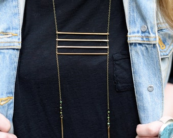 Selene brass ladder necklace with turquoise- native inspired