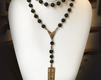 Forged in Fire Rosary Necklace