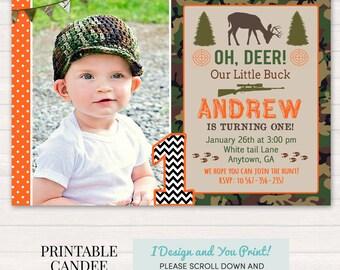 Hunting Birthday Invitation - Deer Hunting Birthday - Camo Birthday - Hunting Invitation - Deer Invitation - Printable Hunting Invitation