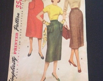 1950s Junior Misses' and Misses' Skirt Simplicity Pattern 1229