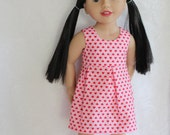 Simply Sweet Pink Red Hearts Sleeveless Summer Dress - Dolls Clothes to fit Australian Girls dolls only