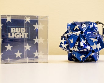Bud Light Star Can Origami.  Upcycled Recycled Repurposed Reused Art.
