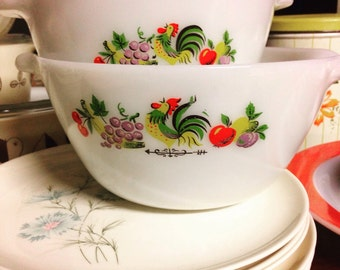 Anchor Hocking Rooster Chanticleer Mixing Bowls Set of 2