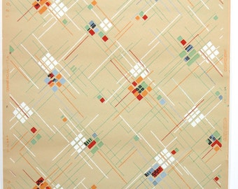 REMNANT of Vintage Wallpaper, Single 48 Inch Piece - Segmant of Geometric Wallpaper with Red Orange Blue and Green Squares and Lines on Tan