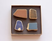 Beach founds magnets, Ceramic pottery shards magnets, brown blue ceramic magnets Set 4 Magnets super strong unique gift for her, simple gift