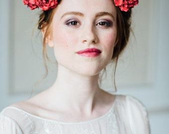 Leather flower crown, leather rose fascinator, costume tiara, red rose crown, costume headdress, leather flower headband, leather hairpiece