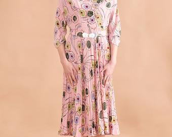 Hug shoulder printed dress // 70s // M size