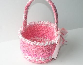 Crochet Girl's First Easter Keepsake Basket, Unique One of a kind Easter Egg basket, With Pink Satin Bow, Baby Shower Gift