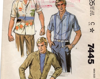 """Vintage Sewing Pattern, McCalls 7445 Men's Long Or Short Sleeve 1980s Shirt Pattern, Size Medium Chest 38-40"""" (97-102cm), Free US Shipping"""