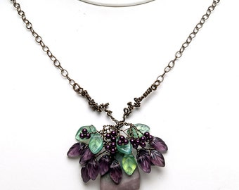 Purple and Green Pendant Necklace, Floral Beaded Necklace, Rustic Wedding Jewelry, Nature Inspired Jewelry,