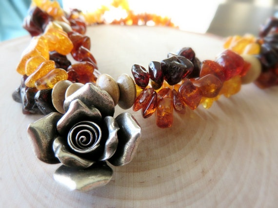 Baltic Amber Necklace/ Triple Strand Necklace/ Hill Tribes Flower Necklace/ Sterling Silver Necklace/ Amber Necklace/ Women's Necklace