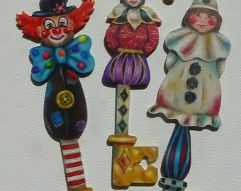 Send in the Clowns e-packet for wooden keys ornaments