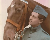 RESERVED FOR RW - Dress Blues - Vintage 1920s Soldier and Horse Tinted Real Photo Postcard