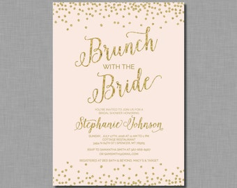 Bridal Brunch Invitation Shower blush gold glitter Mia BR87 Digital or Printed