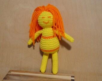 Doll, Crocheted Doll, Sunshine, Yellow and Orange