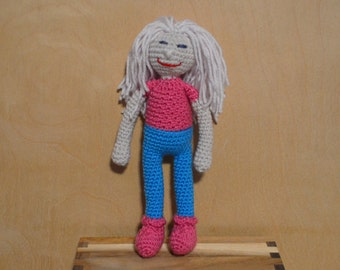 Sale - Crocheted Doll, Amigurumi Doll, Neon Blue and Neon Pink