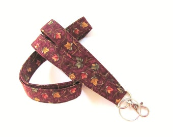 Autumn Leaves Badge Lanyard Keychain, Fabric Lanyard Key Holder