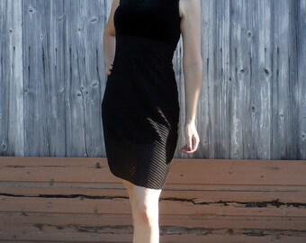 Vintage 90s Black Velvet Sheer Baby Doll Slip Dress Size Small