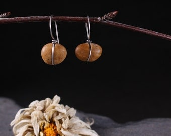 Wrapped Stone Hook Earrings (short)