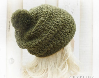 Green slouchy hat with Pompom Mens hat Warm Alpaca hat Chunky crochet beanie Slouch hat Winter hat Warm slouchy hat olive green 'AMSTERDAM'