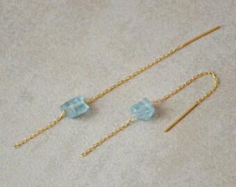 Gold threader earrings, Chain earrings, Aqua earrings, Turquoise threaders, Apatite earrings, Mineral earrings, Ear threaders