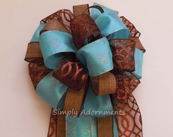 Blue Brown Christmas Tree Topper Bow Aqua Brown Burlap Christmas Tree Bow Brown and Blue Winter Holidays Decoration Xlarge Wreath Swag Bow