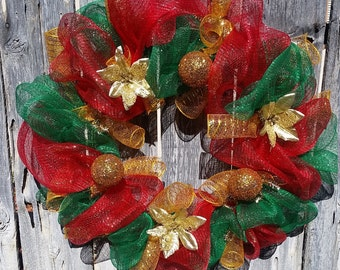 """Red, Green, Gold Christmas Wreath 24"""" across"""